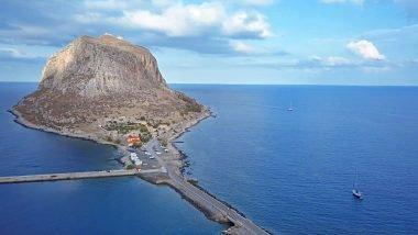 Vista citta fortificata Monemvasia Peloponneso