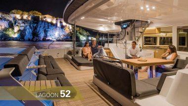 Salotto di poppa Catamarano Lagoon 52