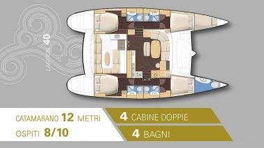 Schema interni Catamarano Lagoon 40