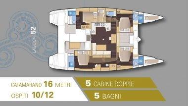 Schema interni Catamarano Lagoon 52